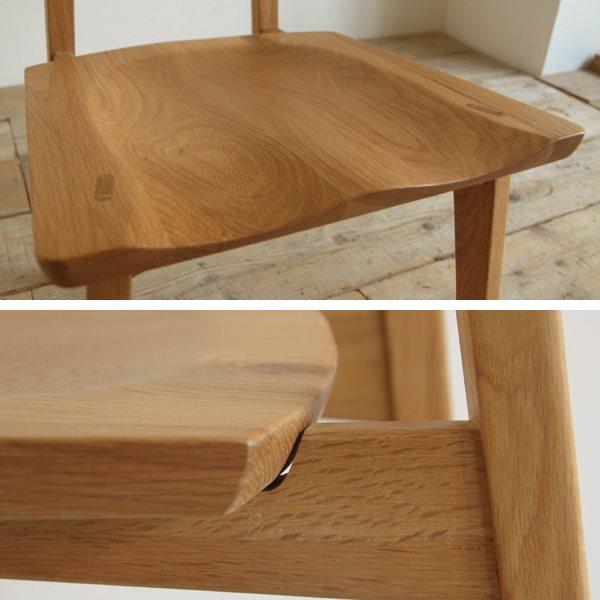 オーク無垢材チェアの座面