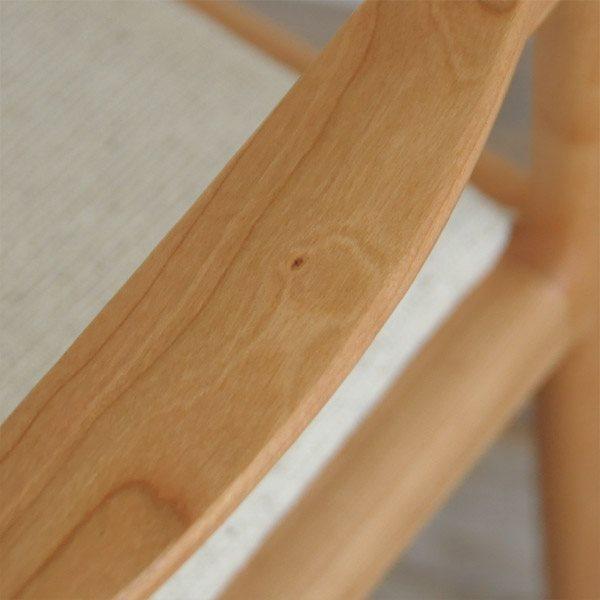 無垢材チェアのアーム部分