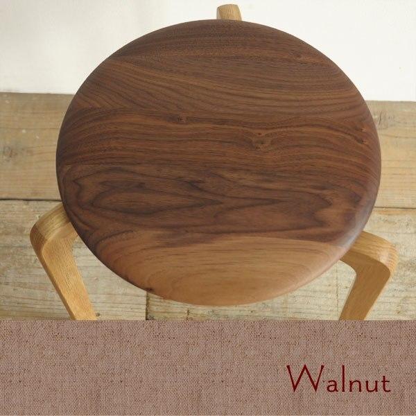 ウォールナット無垢材の丸いスツール