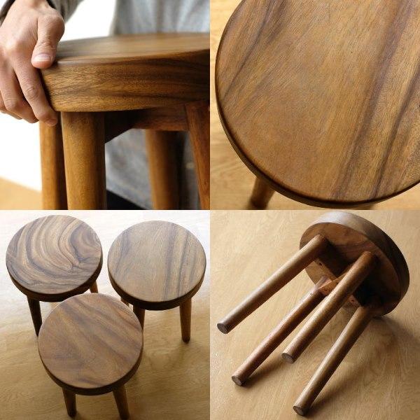 おしゃれな丸い木製スツール