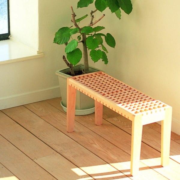 幅80㎝の木製格子ベンチ