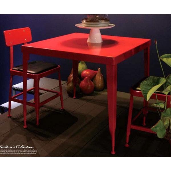 ダルトンの赤いスチールの椅子と赤いダイニングテーブル