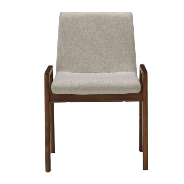ブラウンの木材とホワイトシートの座りやすいおしゃれな椅子
