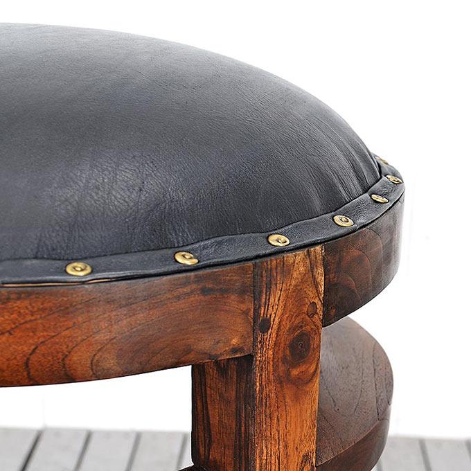 チーク無垢材と水牛革のスツール・アンタレス