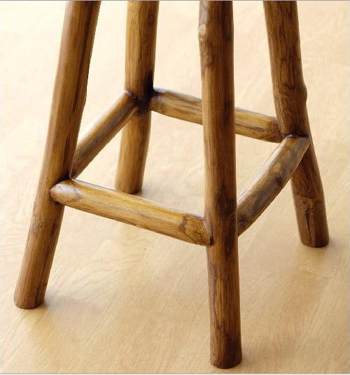 高さ60cmチーク原木スツールの脚部