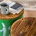 缶スツールのパイン材座面