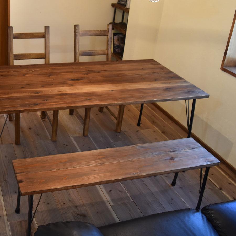 杉無垢材のベンチとダイニングテーブル