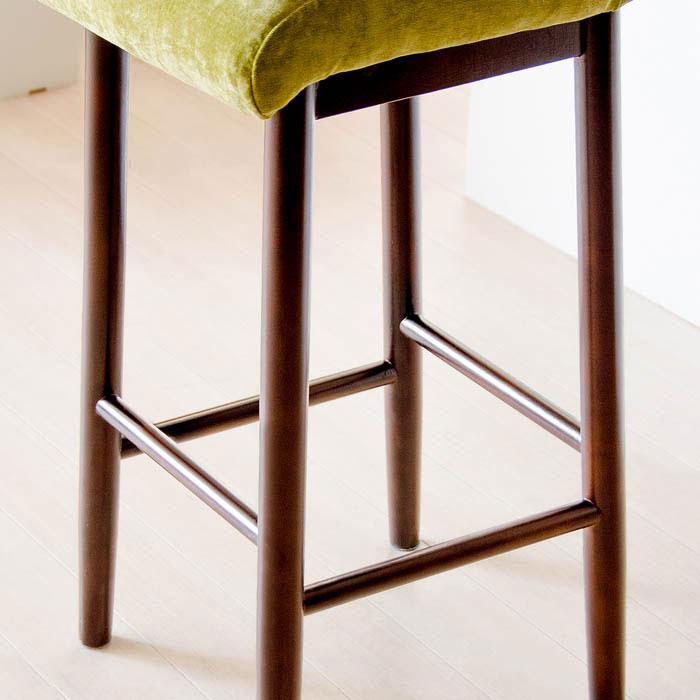 ベロア調カウンターチェアの木製脚