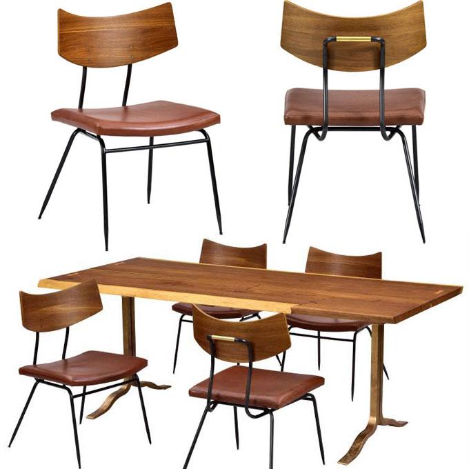 オーク材とアイアンと真鍮の椅子