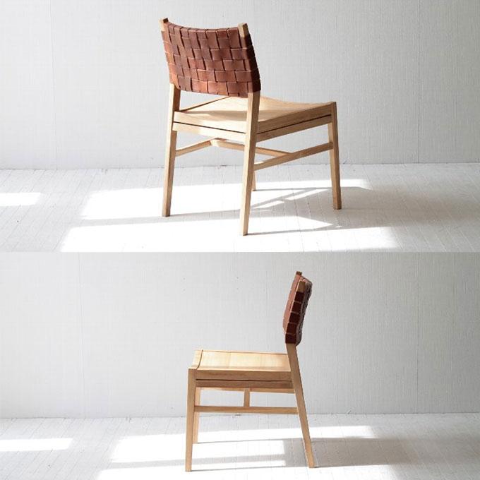 チーク無垢材とレザーの椅子