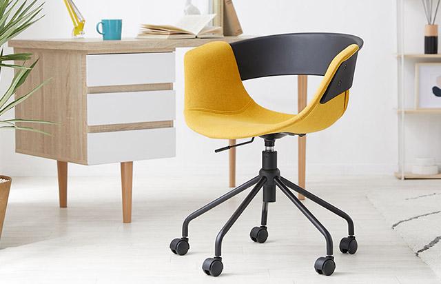 モダンなおしゃれデザインの黄色いオフィスチェア