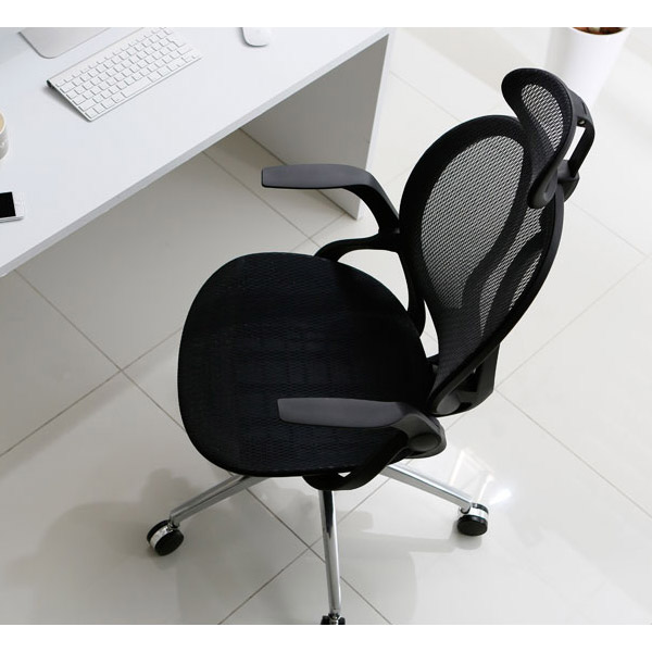 ヘッドレスト付きオフィスチェア ブラック