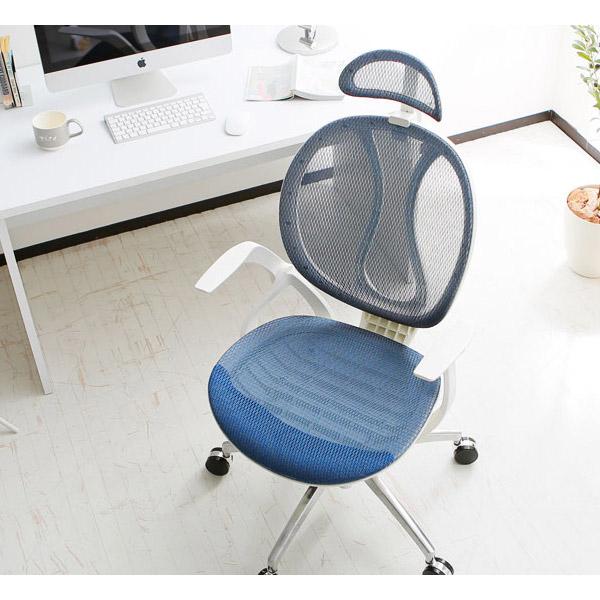 ヘッドレスト付きオフィスチェア ブルー