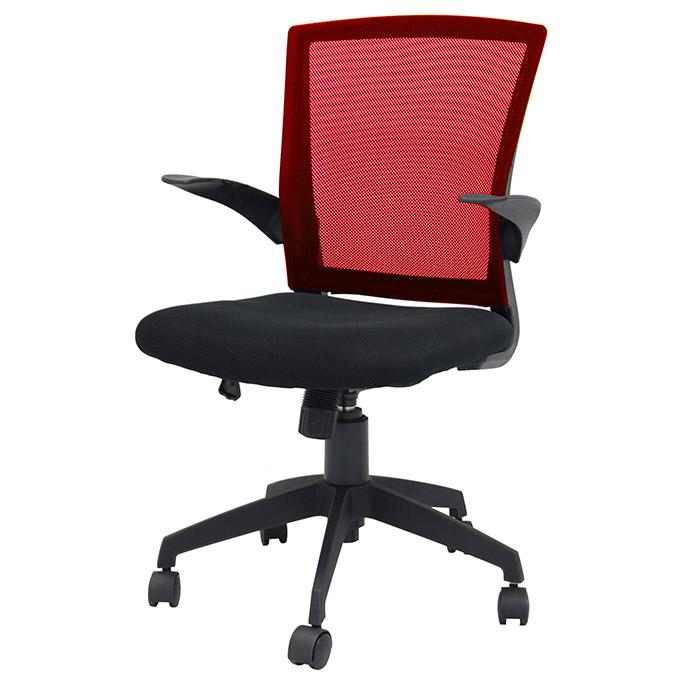 赤い背もたれのコンパクト・オフィスチェア