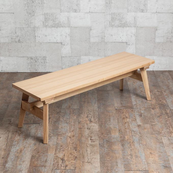 幅120cmの木製ベンチ