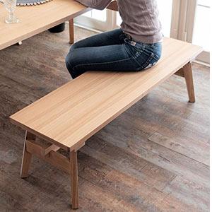 座面が低めの幅120cm木製ベンチ