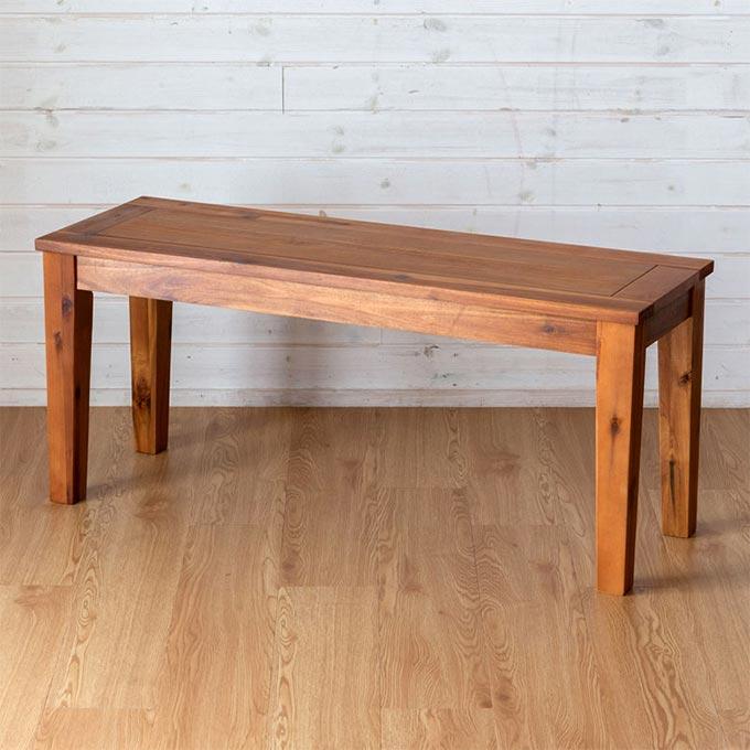 幅約100cmのシンプルな木製ベンチ