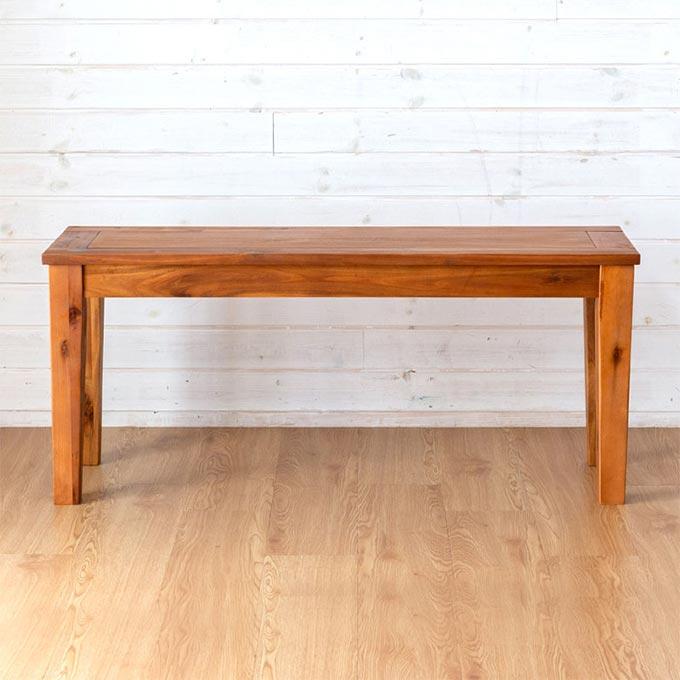 2人掛けのアカシア木製ベンチ