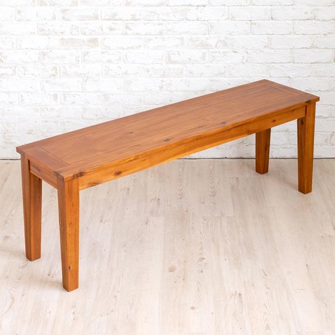 3人掛けのナチュラル木製ベンチ