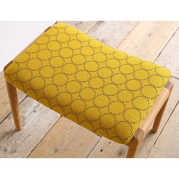 黄色の北欧生地とオーク無垢材のスツール椅子